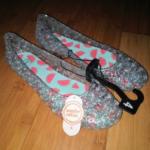 Kids Girls Water Jelly Glitter Shoes Sandals 3 4